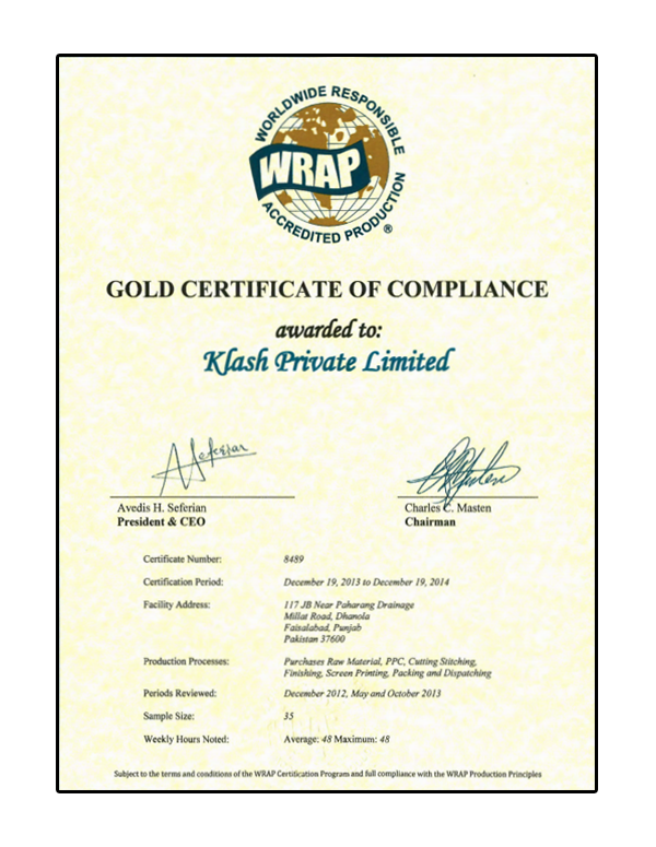 Gold Certificate of compliance  awarded to klash By WRAP